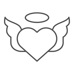 Heart with pair of wings thin line icon. Valentines heart vector illustration isolated on white. Angel heart outline style design, designed for web and app. Eps 10.
