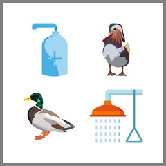 4 bath icon. Vector illustration bath set. soap and duck icons for bath works