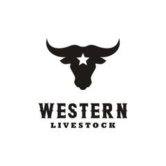 western Bull Cow Buffalo Head silhouette with star logo design