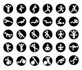 Yoga icons set. Figures yoga poses.