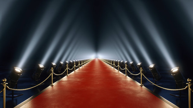 red carpet with volume light in 4k