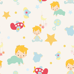 Baby shower. cute boy nursery seamless pattern background vector.