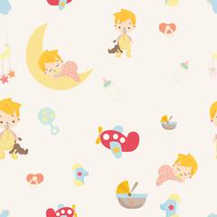 Baby shower. cute boy nursery seamless pattern background vector.