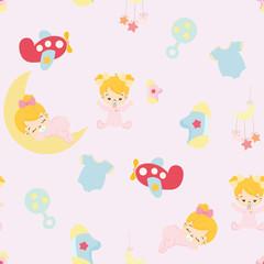 Baby shower. cute girl nursery seamless pattern background vector.