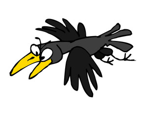 raven bird with big yellow beak, comic drawing, color clipart