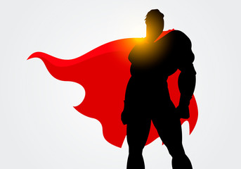 Vector Illustration Silhouette of a Superhero with red cape posing  - fototapety na wymiar