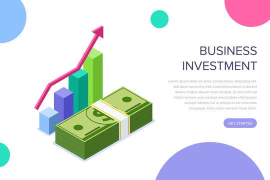 Business investment concept. Can use for web banner, infographics, hero images. Flat isometric vector illustration isolated on white background.