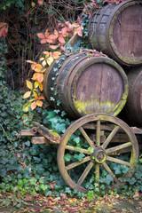 alter Wagen mit Weinfässer und herbstliches Laub