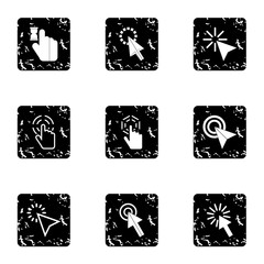 Arrow icons set. Grunge illustration of 9 arrow vector icons for web