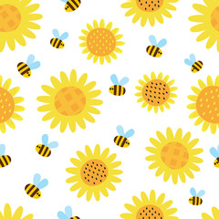 Vector pattern with flying cartoon bees isolated on white