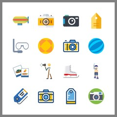 16 hobby icon. Vector illustration hobby set. photograph and zeppelin icons for hobby works