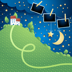 Night landscape with hill, village and photo frames