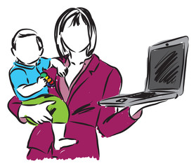 mom mother work in home with a baby illustration