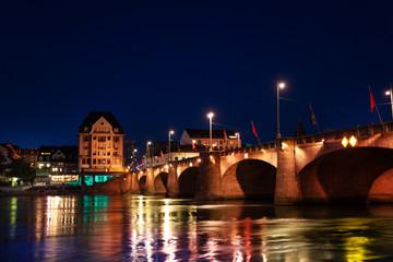 Mittlere Brucke across Rhine river at night, Basel