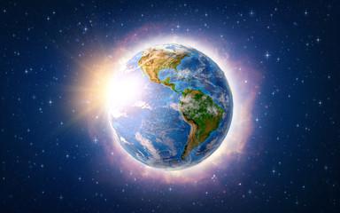 Global warming on Earth over America
