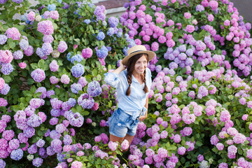 Hydrangea garden. Girl is smiling in hortensia bushes. Flowers are pink, blue, lilac and blooming in town streets. Young woman is wearing in denim shorts, straw hat. Countryside life style, gardening.