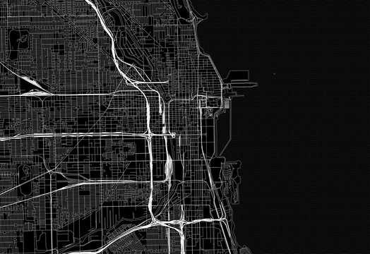 Black map of downtown Chicago, U.S.A