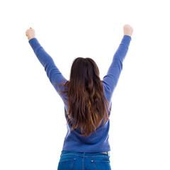 woman celebrate rear view