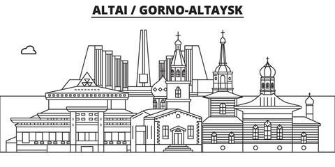 Russia, Altai, Gorno-Altaysk. City skyline: architecture, buildings, streets, silhouette, landscape, panorama, landmarks. Editable strokes. Flat design line vector, illustration concept. Isolated