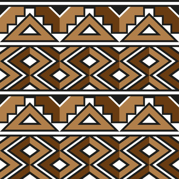 African. Zulu. Decorative pattern for the background, tile and textiles..It is assembled from modular parts. Vector. Seamless.