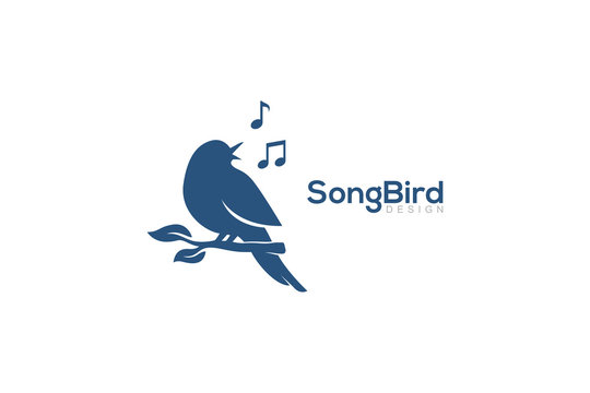 Bird Singing On The Tree Beautiful Melody with Music Notes Concept Logo Design Vector