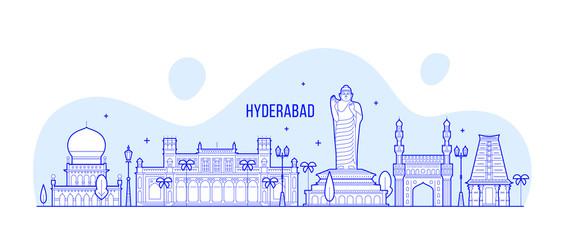 Hyderabad skyline Telangana India city line vector Fototapete