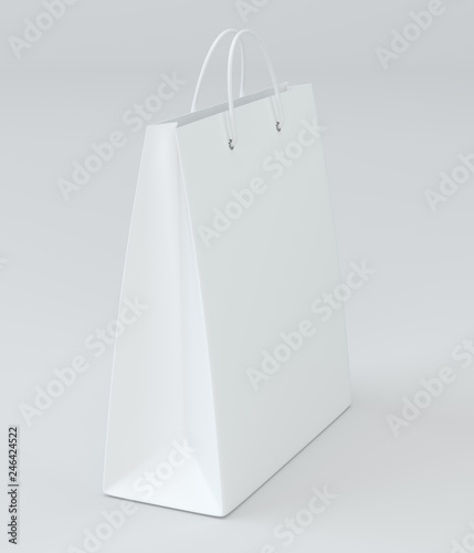 close up of a white paper bag on white background with