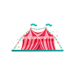 Small red-pink circus tent decorated with bunting flags. Amusement park element. Entertainment theme. Flat vector icon