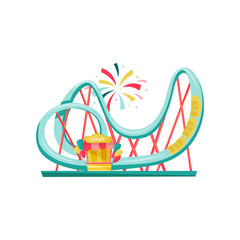 Roller coaster and small ticket booth. Extreme funfair attraction. Equipment of amusement park. Flat vector design