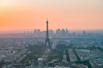 Sunset aerial view of the famous Eiffel Tower