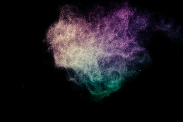 powder of Galaxy and Nebula color spreading for makeup artist or graphic design in black background