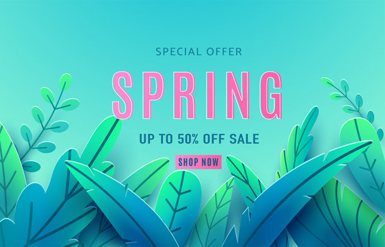 Spring sale background banner with beauty fantasy leaves. Paper cut style isolated on light backdrop. Vector illustration springtime template for flyers, posters, brochure, wallpaper, voucher discount