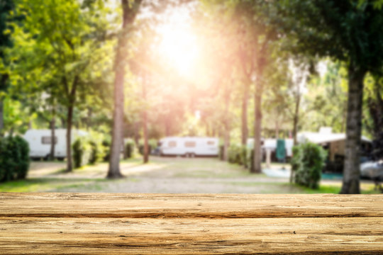 Table background of free space and camping background