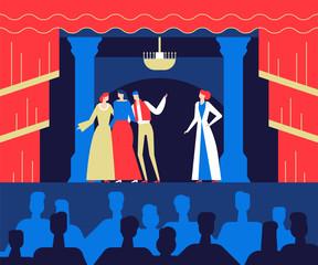 Fototapeta At the theatre - flat design style colorful illustration obraz