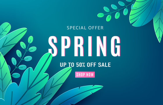 Spring sale background banner with fantasy leaves. Paper cut style with copy space, corner composition. Vector illustration springtime template for flyers, poster, brochure, voucher discount