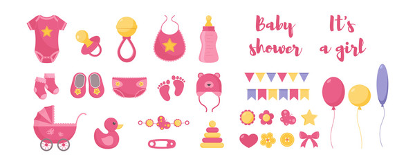 Baby born vector illustration set - various toddler equipment for little girl and decorative elements.