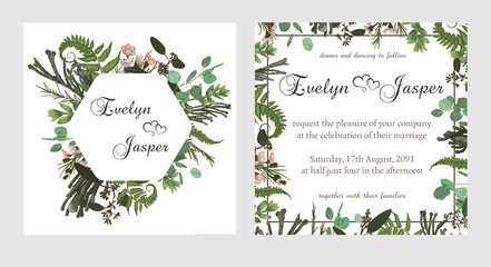 Set for wedding invitation, greeting card, save date, banner. Fern leaf, boxwood, brunia and eucalyptus. Square, round. Vector elegant watercolor rustic, template