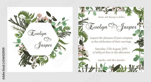 Set for wedding invitation, greeting card, save date, banner