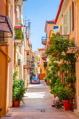 Traditional cozy greek street in city Nafplio, Greece