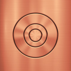 Wall Mural - Bronze metal technology background with circle for and polished, brushed metallic texture, chrome, silver, steel, rust for design concepts, wallpapers, interfaces, web and prints. Vector illustration.