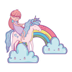 little unicorn and princess in the clouds with rainbow