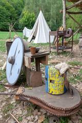 Camp médiéval heaume et bouclier