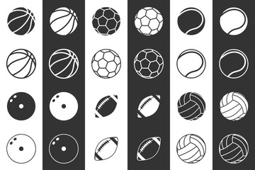 Icon set of balls for football, basketball, volleyball, rugby, bowling and tennis. In two variations, on a white and black background. 10 eps
