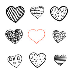 Black and red hand drawn hearts on white background. Vector design element for Valentine s day.