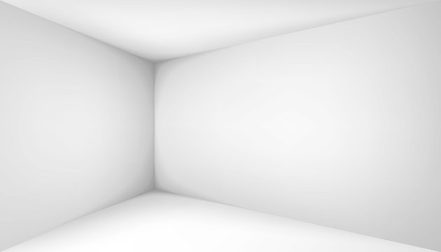 Empty white room. The inner space of the box. Corner of light box with soft shadows. Vector design illustration. Mock up for you business project