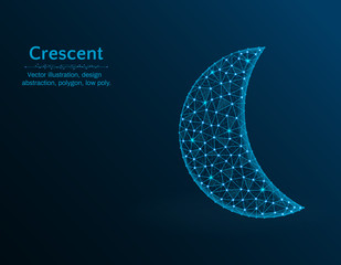 Crescent low poly vector illustration, polygon icon on blue background, abstract design illustration