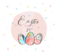 Hand drawn vector abstract graphic rustic textured collage Happy Easter cute greeting card template Easter eggs and Easter Hunting season freehand calligraphy text isolated on pink pastel background