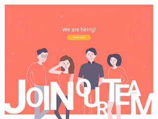We are hiring concept banner. Can use for web banner, infographics, hero images. Group of colleagues invites to join the team. Illustration on red background