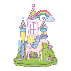 Poster beautiful little unicorn with castle in the landscape