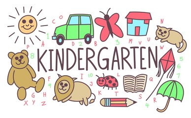 Kindergarten illustration, cartoon back to school